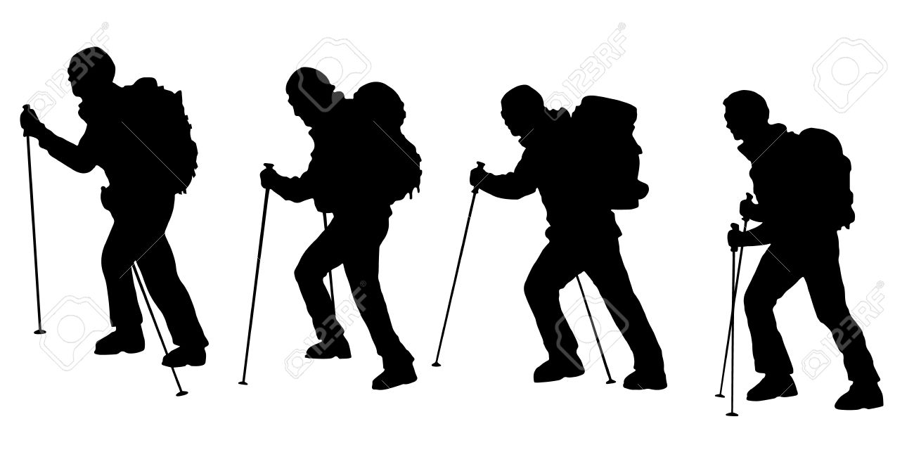 34794945 hiker v3 silhouettes on the white background
