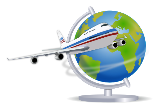 512px Airplane globe svg